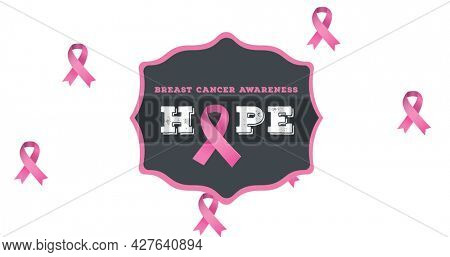 Composition of pink breast cancer ribbon on white background. breast cancer positive awareness campaign concept digitally generated image.