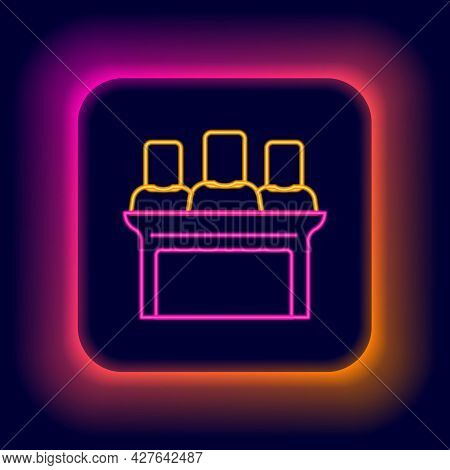 Glowing Neon Line Jurors Icon Isolated On Black Background. Colorful Outline Concept. Vector