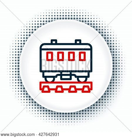 Line Passenger Train Cars Icon Isolated On White Background. Railway Carriage. Colorful Outline Conc