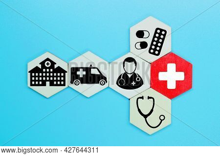 Hexagon, Medical Icon With Medical And Hospital Items.health Care And Medicine