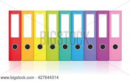 Ring Binders, Colorful Blank Leaf Binder Set, Rainbow Colored Collection For Happy Office Work And T