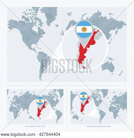 Magnified Argentina Over Map Of The World, 3 Versions Of The World Map With Flag And Map Of Argentin