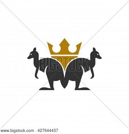 Kangaroo Crown Letter M Logo Icon Vector Flat Concept Graphic Design