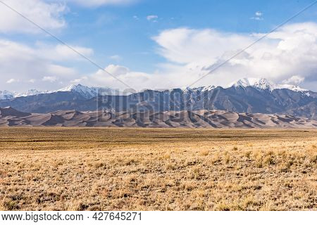 View Of The Mountains And Dunes Of Great Sand Dunes National Park In Colorado