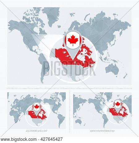 Magnified Canada Over Map Of The World, 3 Versions Of The World Map With Flag And Map Of Canada. Vec