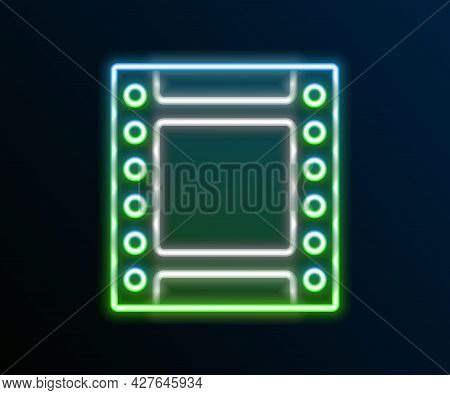 Glowing Neon Line Camera Vintage Film Roll Cartridge Icon Isolated On Black Background. 35mm Film Ca