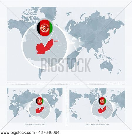 Magnified Afghanistan Over Map Of The World, 3 Versions Of The World Map With Flag And Map Of Afghan
