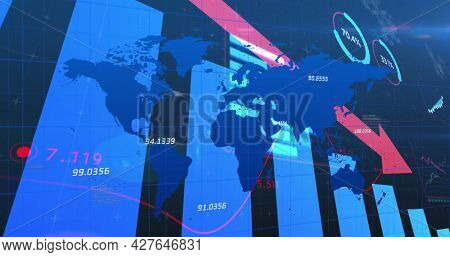 Image of line with financial data processing with red arrow descending over world map. global finance technology digital interface concept digitally generated image.