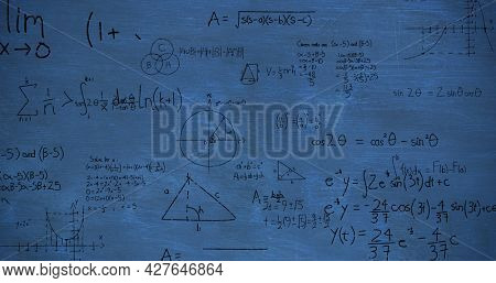 Image of zoom out showing mathematical equations and calculations handwritten in black chalk moving on a blue chalkboard