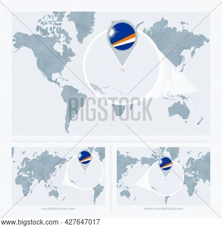 Magnified Marshall Islands Over Map Of The World, 3 Versions Of The World Map With Flag And Map Of M