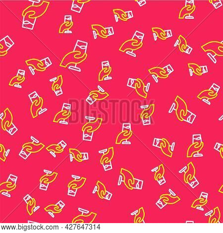 Line Wine Tasting, Degustation Icon Isolated Seamless Pattern On Red Background. Sommelier. Smells O