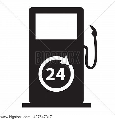 Fuel Station With 24 Hours Icon On White Background. 24 Hour Black Fuel Station Sign. 24h Fuel Dispe