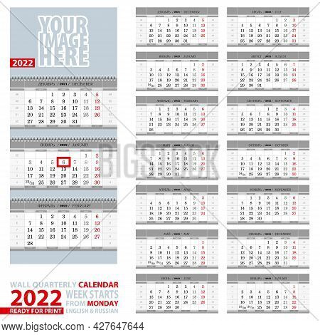 2022 Calendar, Design In Gray Color. Wall Quarterly Calendar 2022, English And Russian Language. Wee