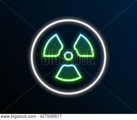 Glowing Neon Line Radioactive Icon Isolated On Black Background. Radioactive Toxic Symbol. Radiation