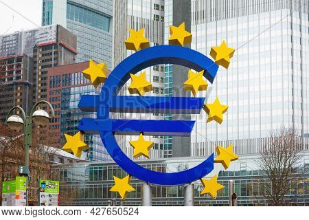 Frankfurt, Germany - June 12, 2019: Euro Sign. European Central Bank (ECB) is the central bank of the euro and administers the monetary policy of the Eurozone in Frankfurt, Germany.
