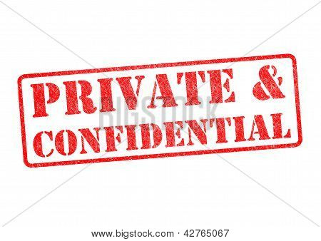 PRIVATE &CONFIDENTIAL rubber stamp over a white background. poster