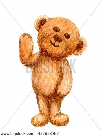 Brown Bear Cute Watercolor Isolated On White, Illustration Bear Doll Water Color, Fluffy Bear Toy Cu