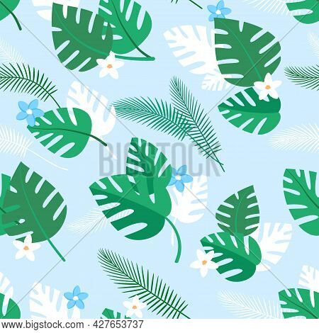 Seamless Pattern With Tropical Plants And Blue And White Flowers. Summer Background With Green Palm