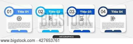Set Line Bitcoin, Fast Payments, Hourglass With Dollar And Inserting. Business Infographic Template.