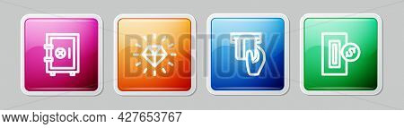 Set Line Safe, Diamond, Credit Card Inserted And Inserting Coin. Colorful Square Button. Vector