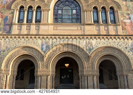Palo Alto, California - July 22, 2021: The Memorial Church Façade Closeup