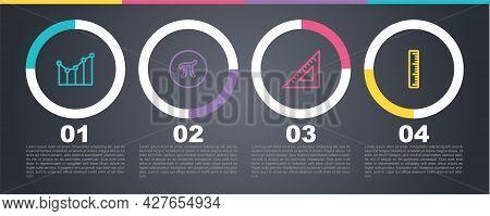 Set Line Graph, Schedule, Chart, Diagram, Pi Symbol, Triangular Ruler And Ruler. Business Infographi