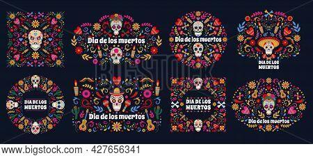 Dia De Los Muertos Banners. Day Of The Dead Mexican Sugar Human Head Bones And Flowers Vector Backgr