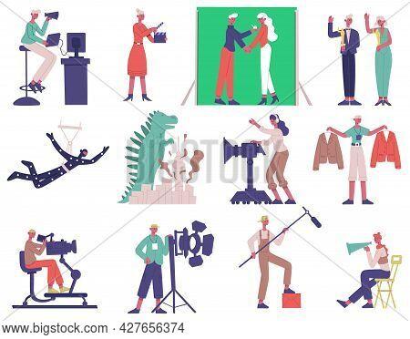 Film Shooting Characters. Cinema Movie Production Process, Film Director, Cameraman And Actors Vecto