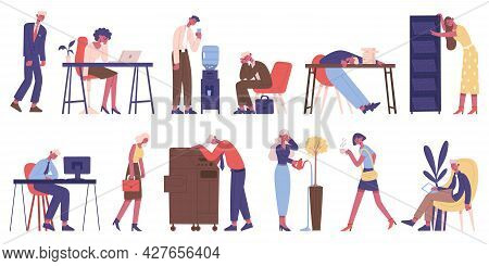 Exhausted Business Characters. Tired Male And Female Business People, Exhausted Office Workers And D