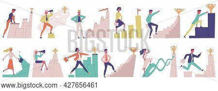 Business People Goal Movement. Goal Achieve Male And Female Successful Professional Characters Vecto