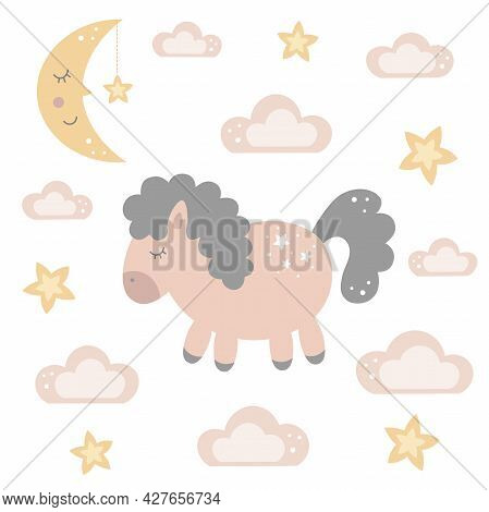 Cute Cartoon Sleeping Baby Horse With A Moon, Stars And Clouds In The Sky. Good Night Theme. Baby An