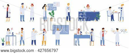 Scientific Research. Science Lab Male And Female Workers, Biologists, Chemists And Scientist Laborat