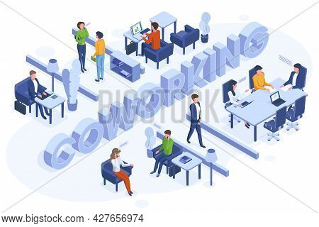 Isometric Coworking Concept. Freelance Business People Work In Open Office Space Vector Illustration