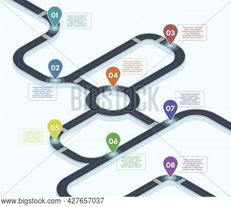 Isometric Roadmap. City Street Road Map Infographic, 3d Road Timeline Concept Vector Background Illu