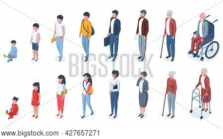 Isometric People Age Generations From Child To Elderly. Human Age Evolution, Kid, Adult And Elderly