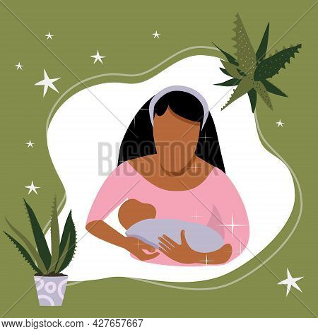 World Breastfeeding Week Illustration.young Latin Woman With Child. Lactation Concept.mom Holds Her