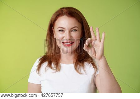 Alright Got It. Cheerful Motivated Determined Redhead Enthusiastic Middle-aged Woman Show Okay Ok Co