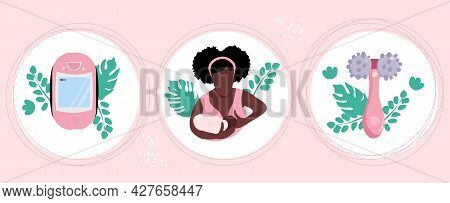 World Breastfeeding Week.lactation Accessories Set.young Afro American Woman With Child.massager And