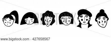 Set Of Doodle Girl Faces. Black And White Vector Isolated Illustration Logo. Collection. Curly, In A