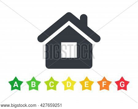 Energy Efficiency Rating Icons. Energy Efficient House. Green House Symbol With Energy Rating. Vecto