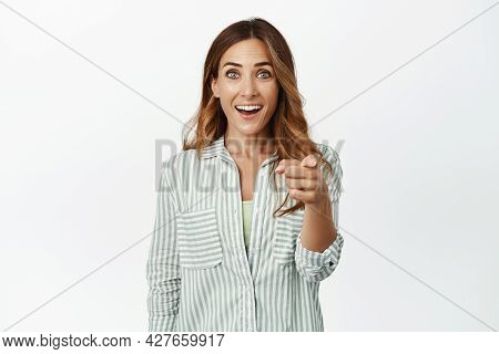 Its You. Surprised And Amazed Brunette Girl Pointing Finger At Camera With Face In Awe, Seeing Famou