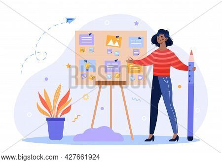 Concept Of Successful Task Completion. Woman Next To The Blackboard Correctly Organizes Working Hour