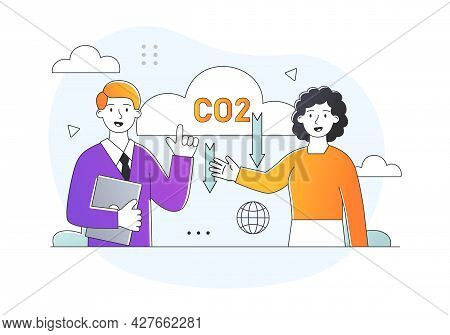 Dioxide Emissions Concept. Scientists Report On A Global Environmental Problem. The Greenhouse Effec