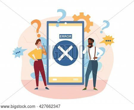 Concept Operating System Error Warning. Error Info Message On Smartphone. Man And A Woman Can Not Un