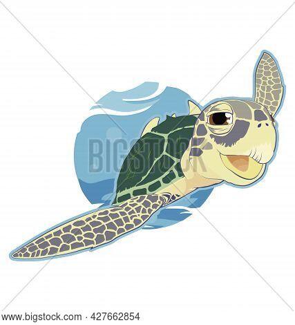 Chelonia Mydas - Green Sea Turtle - Swimming - Vector Cartoon Isolated