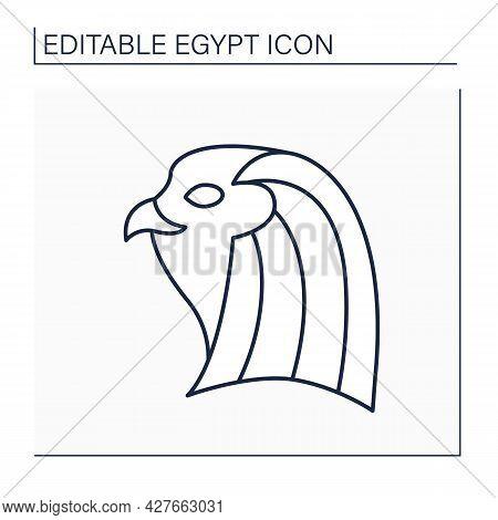 Horus Line Icon. Falcon-headed God.god Of Sky, Royalty, And Sun. Pharaons Patron.egypt Concept. Isol