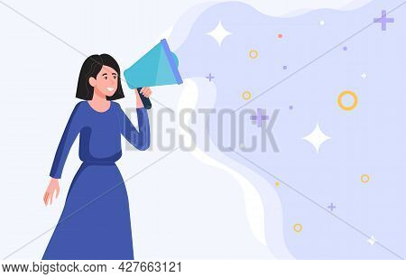 Advertising And Promotion Concept. Woman With Megaphone Or Loudspeaker Makes An Announcement. Market