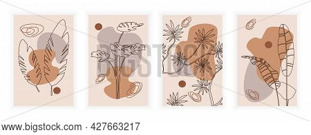 Botanical Wall Art Set. Leaves On An Abstract Background In The Style Of Line Art. Abstract Plant Ar