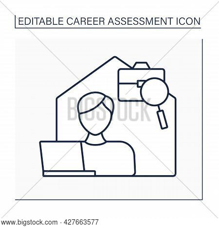 Independence Line Icon. Freelance. Remote Work From Home. Career Assessment Concept. Isolated Vector