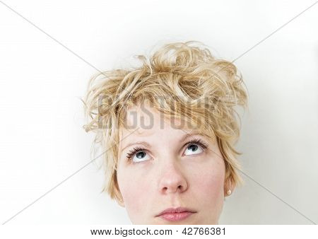 Blond Girl Looking Up - VERY Mixed Hairs !!!